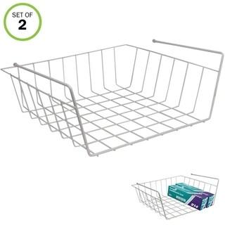 Evelots Pack Of 2 Under Shelf Wire Rack Kitchen Organizer Basket Storage Bins