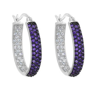 Sterling Silver Clear and Purple Cubic Zirconia Inside Out Oval Hoop Earrings
