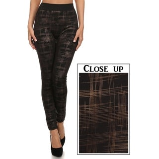 Scratchy Plaid Cross Hatch Leggings (Gold)