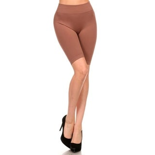 Lady'S Solid Color Seamless Basic Biker Shorts