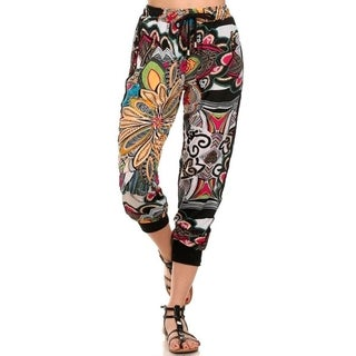 Lady'S Printed Joggers-Retro/Hippy Print