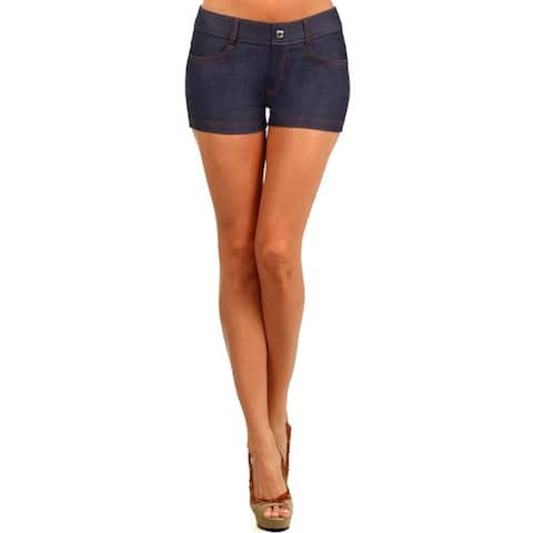 Women'S Solid Navy Color Jegging Shorts
