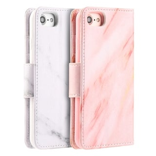 Apple Iphone 7 Marble Wallet Pouch Case With Card Slots - Pink