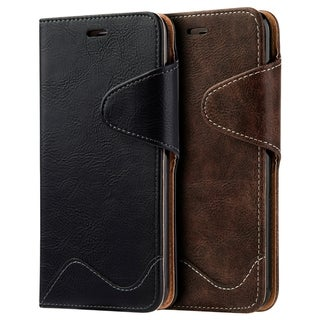Apple Iphone 7 Plus Executive Luxury Leather Wallet Case With Card Slots - Black