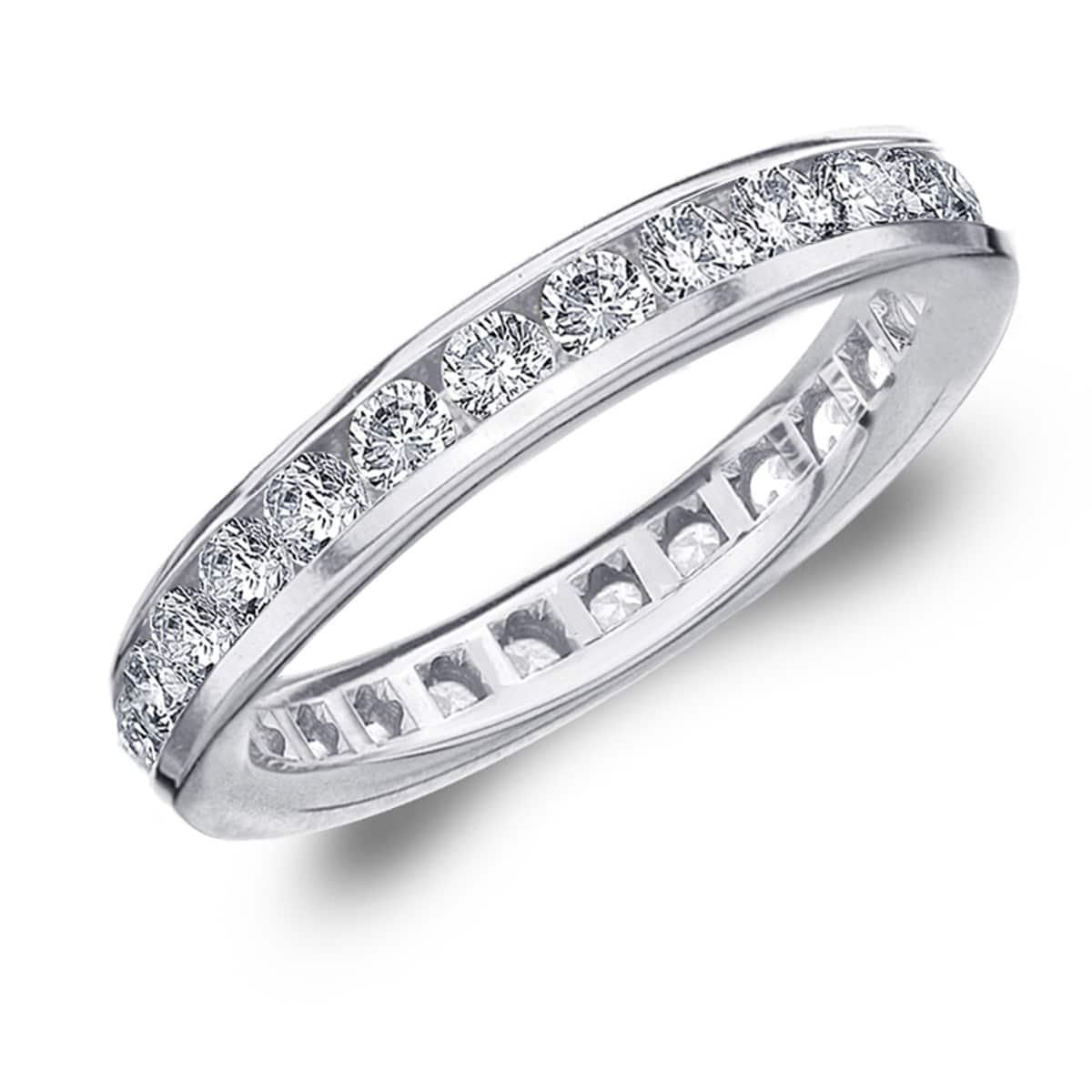 Diamond Wedding Band in 10K White Gold 1//10 cttw, Size-8.25 G-H,I2-I3
