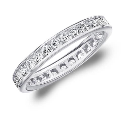 Amore 10K White Gold 1.0 CTTW Eternity Diamond Wedding Band