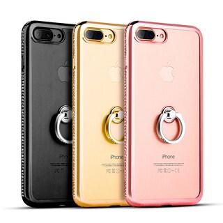 Apple Iphone 7 Plus Diamond Jewel Transparent Tpu Ring Case With Chrome Bling Frame - Black
