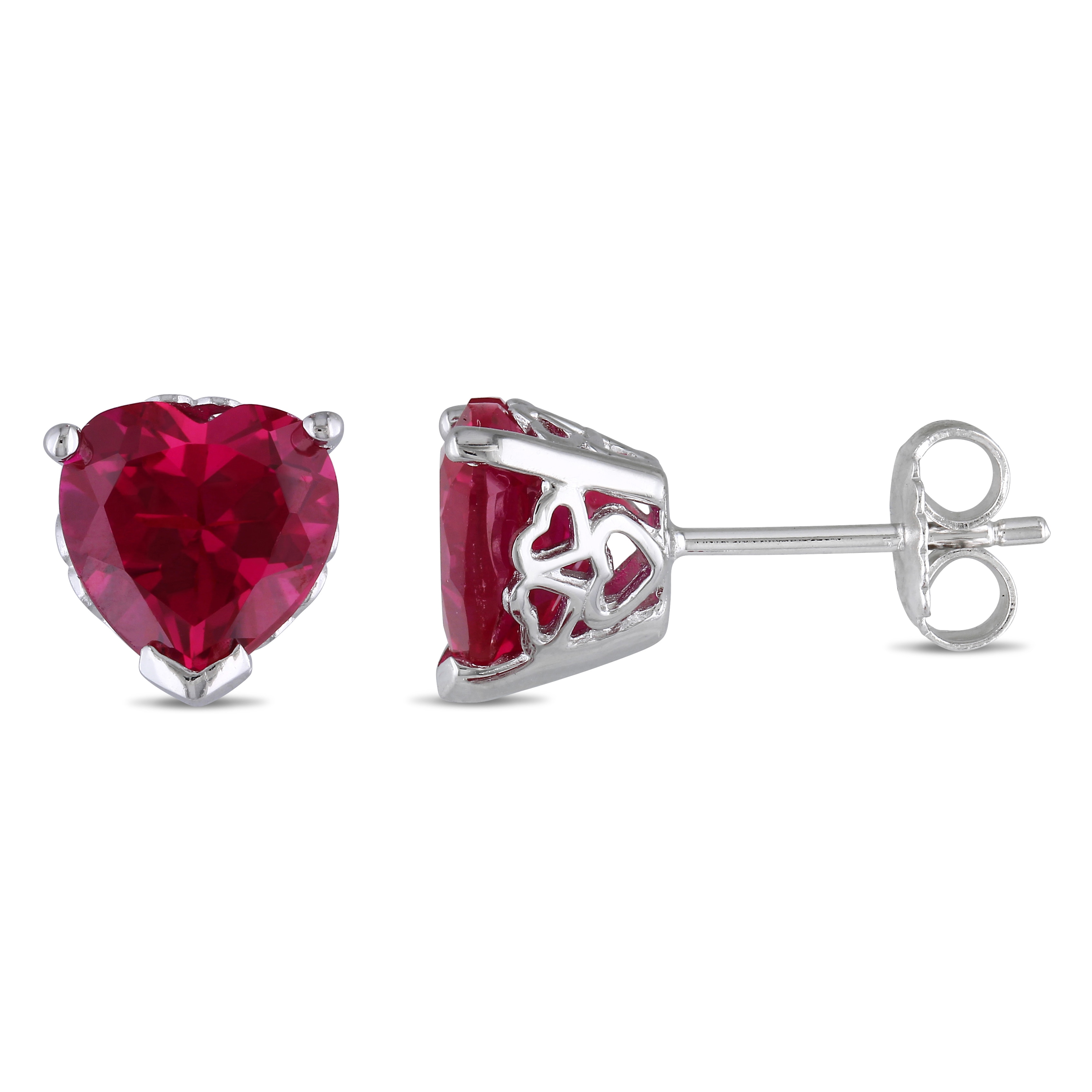Rose Gold Flashed Sterling Silver Created Ruby Crown Stud Earrings