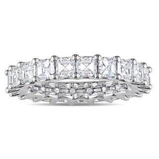 Miadora Signature Collection 18k White Gold 4ct TDW Certified Asscher-Cut Diamond Full-Eternity Ring (IGI)