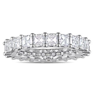 Miadora Signature Collection 18k White Gold 4ct TDW Certified Asscher-Cut Diamond Full-Eternity Ring