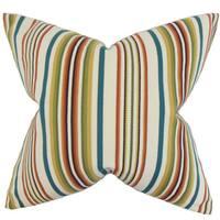 """Magaidh Stripes 24"""" x 24"""" Down Feather Throw Pillow Multi"""