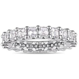 Miadora Signature Collection 18k White Gold 3ct TDW Certified Asscher-Cut Diamond Full-Eternity Ring (IGI)
