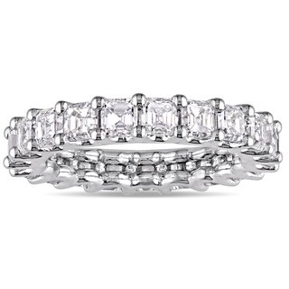 Miadora Signature Collection 18k White Gold 3ct TDW Certified Asscher-Cut Diamond Full-Eternity Ring