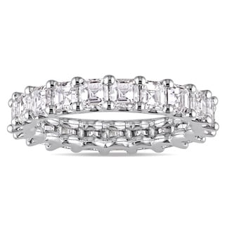 Miadora Signature Collection 18k White Gold 3-1/10ct TDW Certified Asscher-Cut Diamond Full-Eternity Ring (IGI)