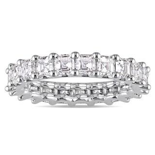 Miadora Signature Collection 18k White Gold 3-1/10ct TDW Certified Asscher-Cut Diamond Full-Eternity