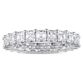 Miadora Signature Collection 18k White Gold 4ct TDW Certified Asscher-Cut Diamond Full-Eternity Ring (IGI)