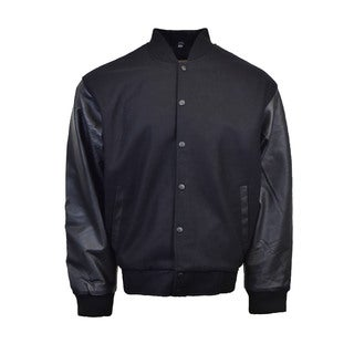 Men's Black Wool Blend Letterman Jacket
