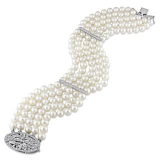 Miadora Signature Collection 14k White Gold Cultured Freshwater Pearl and 5/8ct TDW Diamond 5-Strand Bracelet (5-6 mm)