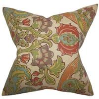 Kiriah Floral 24-inch Down Feather Throw Pillow - Vintage