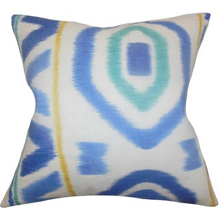 "Rivka Geometric 24"" x 24"" Down Feather Throw Pillow Blue"