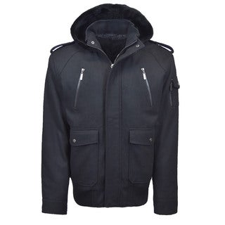 Men's Wool Blend Zip Jacket with Epaulets and Removable Hood