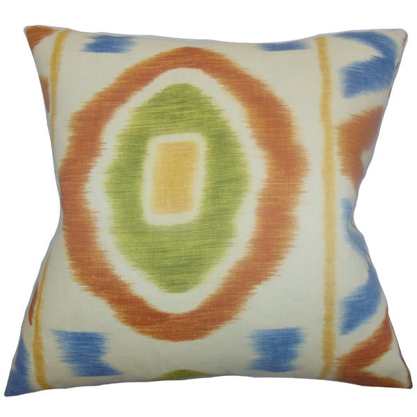 "Rivka Geometric 24"" x 24"" Down Feather Throw Pillow Adobe"