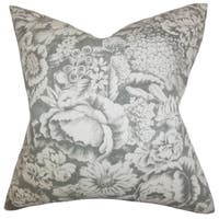 """Elspeth Floral 24"""" x 24"""" Down Feather Throw Pillow Gray"""