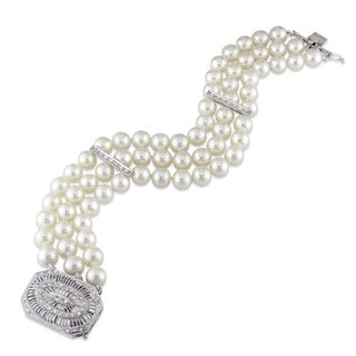 Miadora Signature Collection 14k White Gold Cultured Freshwater Pearl and 1/3ct TDW Diamond 3-Strand Bracelet (6-6.5 mm)