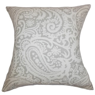 """Nellary Paisley 24"""" x 24"""" Down Feather Throw Pillow Silver"""