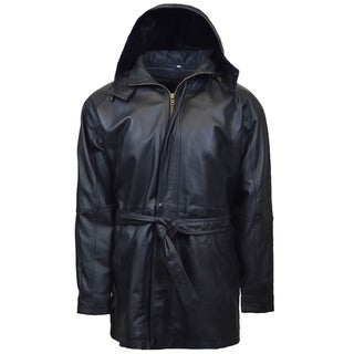 Link to Men's 3/4 Quarter Leather Coat with Hood and Zipout Liner Similar Items in Men's Outerwear