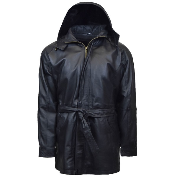 Mens 3/4 Quarter Leather Coat with Hood and Zipout Liner