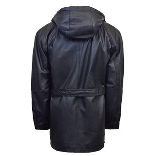 Men's 3/4 Quarter Leather Coat with Hood and Zipout Liner (Option: Xl)