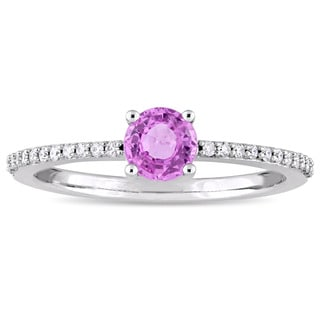 Miadora Signature Collection 14k White Gold Pink Sapphire 1/8ct TDW Diamond Slender Engagement Ring