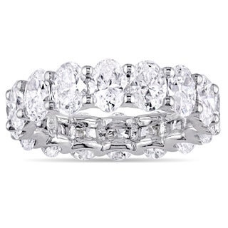 Miadora Signature Collection 18k White Gold 5ct TDW Certified Oval-Cut Diamond Full-Eternity Ring (IGI)