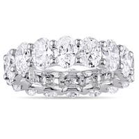 Miadora Signature Collection 18k White Gold 5ct TDW Certified Oval-Cut Diamond Full-Eternity Ring (I