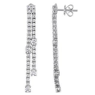 Miadora Signature Collection 18k White Gold 1-5/8ct TDW Diamond Linear Tassel Dangle Earrings