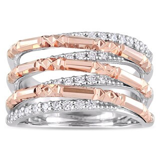 Miadora Signature Collection 14k 2-Tone White and Rose Gold 3/8ct TDW Diamond Textured Crossover Ring