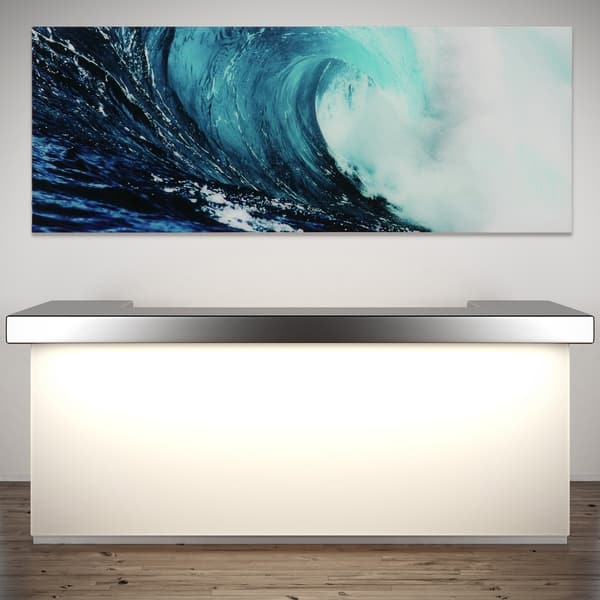 Blue Wave Abstract Wall Art Printed On Free Floating Tempered Glass Overstock 15340278