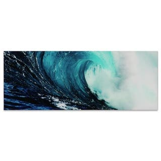 """Blue Wave 2"" Frameless Free Floating Tempered Glass Panel Graphic Wall Art"