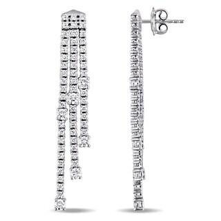 Miadora Signature Collection 18k White Gold 2-3/5ct TDW Diamond Linear Tassel Dangle Earrings