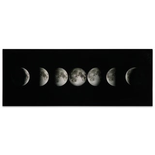 """""""Moon"""" Frameless Free Floating Tempered Glass Panel Graphic Wall Art"""