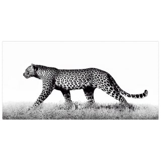 Leopard Wall Art Printed on Frameless Free Floating Tempered Glass