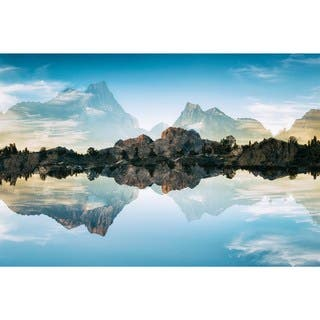 """""""Quiet Waters"""" Frameless Free Floating Tempered Glass Panel Graphic Wall Art"""