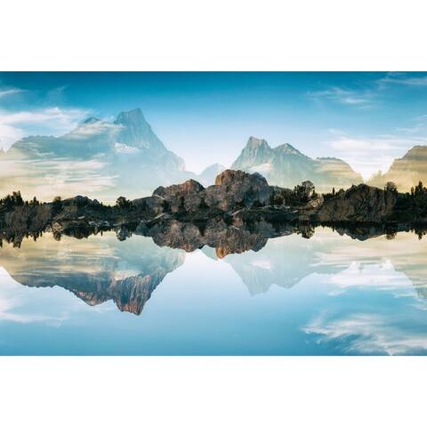 """Quiet Waters"" Frameless Free Floating Tempered Glass Panel Graphic Wall Art"