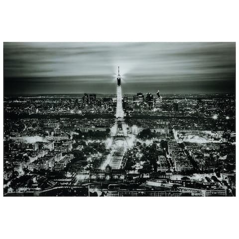 """""""Paris Night"""" Graphic Wall Art on Free Floating Tempered Glass Panel"""