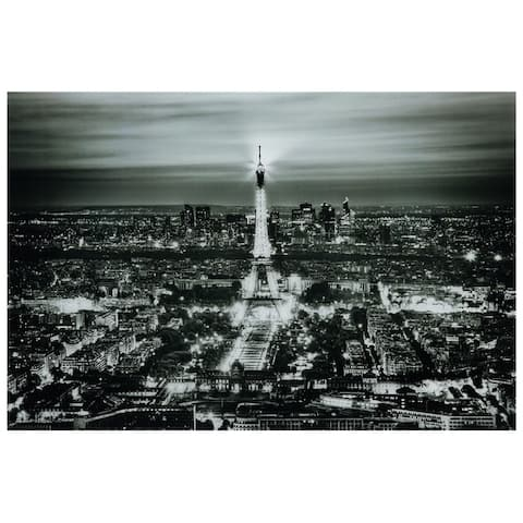 """Paris Night"" Graphic Wall Art on Free Floating Tempered Glass Panel"