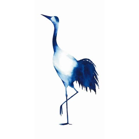 """Ink Drop Crane 2"" Frameless Free Floating Tempered Glass Panel Graphic Wall Art"