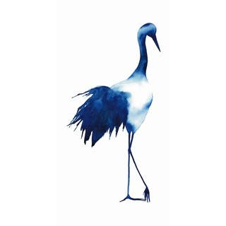 """""""Ink Drop Crane 1"""" Frameless Free Floating Tempered Glass Panel Graphic Wall Art"""