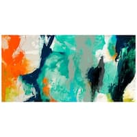 """Tidal Abstract 2"" Frameless Free Floating Tempered Glass Panel Graphic Wall Art"