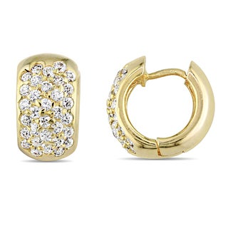 Miadora Signature Collection 10k Yellow Gold Cubic Zirconia Hoop Earrings